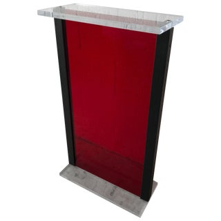 Postmodern Red Lucite Pedestal Pedestal From the Versace Store in Miami Beach For Sale