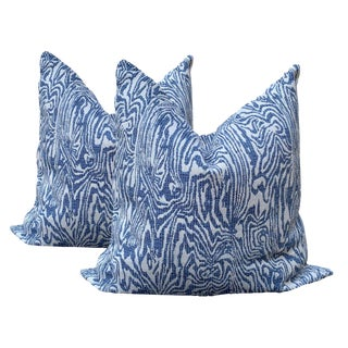 Contemporary Blue and White Animal Print Pillows - a Pair For Sale