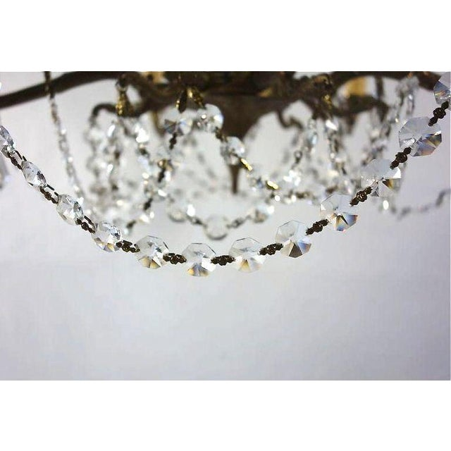Ornate French Brass Chandelier With Crystal Beads - Image 5 of 7