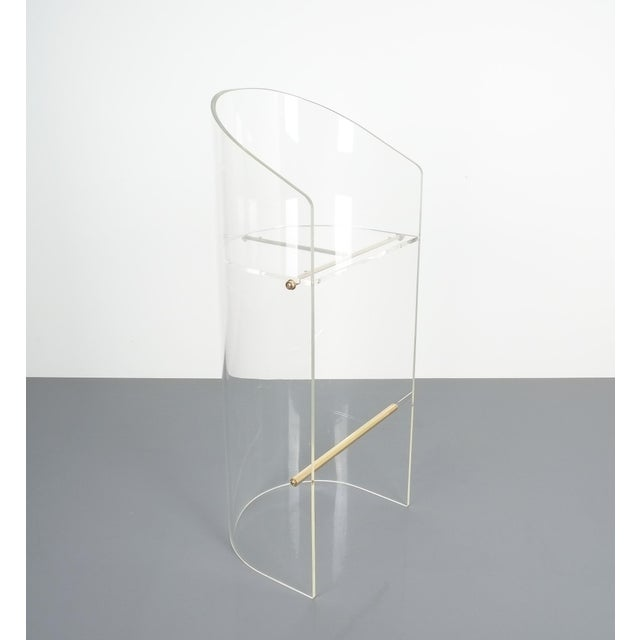 Pair of Lucite Brass Bar Stools Style Charles Hollis Jones, 1960 For Sale - Image 10 of 13