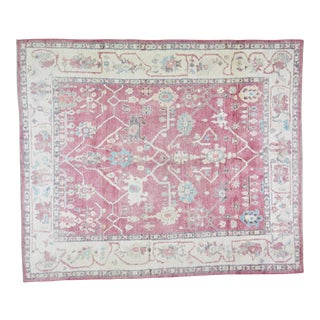 """Vintage Turkish Hand Knotted Natural Color Organic Wool Oushak Rug,7'10""""x9'2"""" For Sale"""