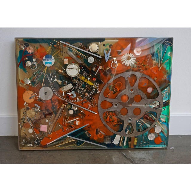 Double-Sided Collage Imbedded in Lucite For Sale In Palm Springs - Image 6 of 7