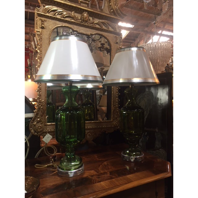 Green 1960s Vintage Emerald Green Murano Lamps Marbro Company - a Pair For Sale - Image 8 of 11
