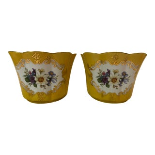 Chelsea House Yellow Cachepots - a Pair For Sale