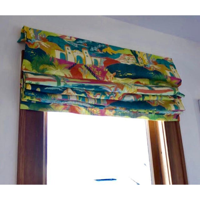 Folk Art Multicolored Mexican Scene Pattern Roman Shade For Sale - Image 3 of 10