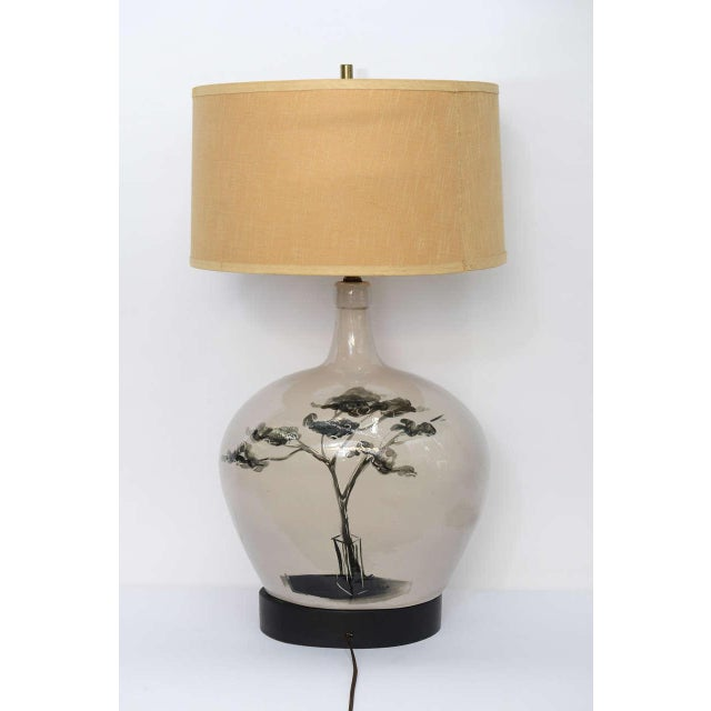 1950s Pottery Vase with Painted Parisian Scene Lamp For Sale - Image 4 of 9