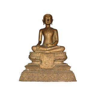 Large Antique Thai Gilt Bronze Statue Seated Buddha