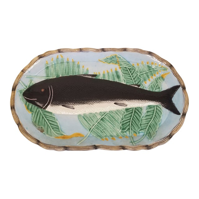 1990s Vintage Fitz and Floyd Majolica Style Fish Wall Platter For Sale