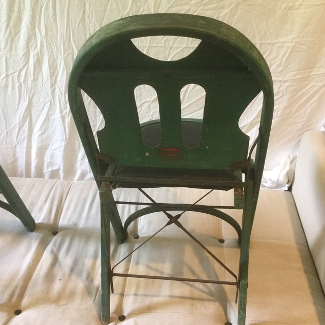 1920s Vintage Louis Rastetter & Sons Green Wood Folding Chairs - a Pair For Sale - Image 9 of 13
