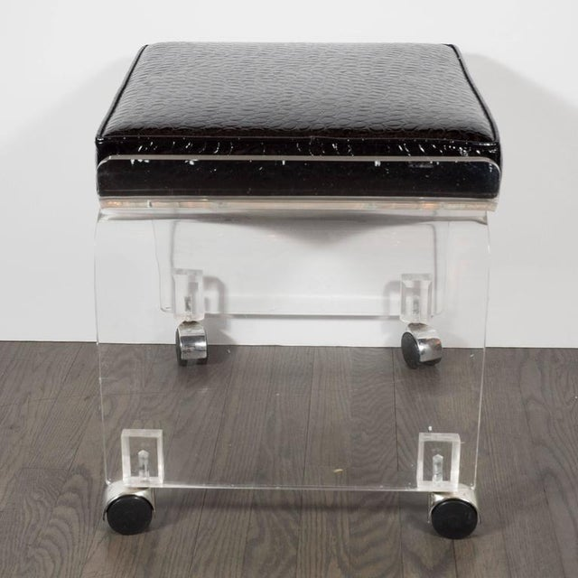 Mid-Century Lucite and Black Faux Crocodile Upholstery Swivel Stool or Bench For Sale In New York - Image 6 of 10