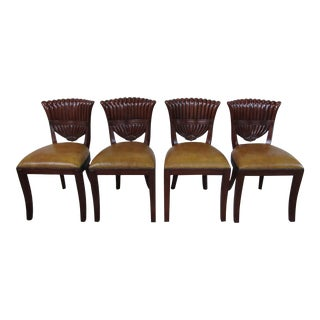 Maitland Smith Mahogany Shell Carved Backs Dining Chairs - Set of 4 For Sale