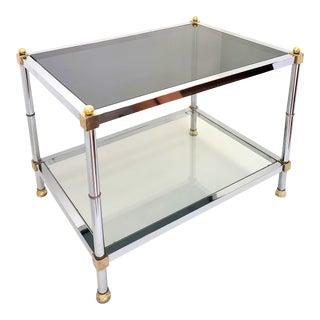 Mid Century Modern Maison Jansen Chrome & Brass End Table For Sale