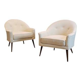 1950s Harvey Probber Mid-Century Walnut & Velvet Armchairs - a Pair For Sale