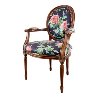 Late 20th Century Floral Chintz Louis XVI Style Desk Chair For Sale