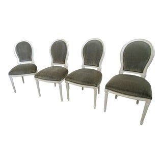 Henredon Furniture Mark D. Sikes St. Pierre Weathered White Chairs - Set of 4 For Sale