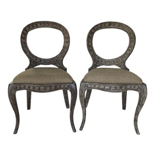 Furniture Classics Aged Pendant Mahogany Side Chairs - a Pair For Sale