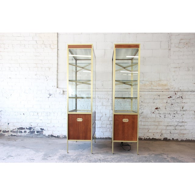 Gold Baker Furniture Hollywood Regency Campaign Style Lighted Display Cabinets - a Pair For Sale - Image 8 of 13