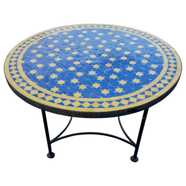 "Metal Moroccan Blue / Yellow Mosaic Top Wrought Iron 32"" Table For Sale - Image 7 of 7"
