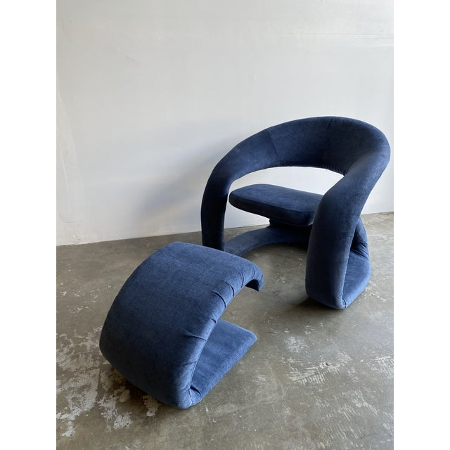 1980s Vintage Memphis Sculptural Cantilever Chairs and Ottoman For Sale - Image 9 of 13