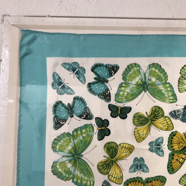 Original Tiffany Scarf in Modern Case with butterfly design. Measures in a perfect square at 36 by 36 inches. See photos...