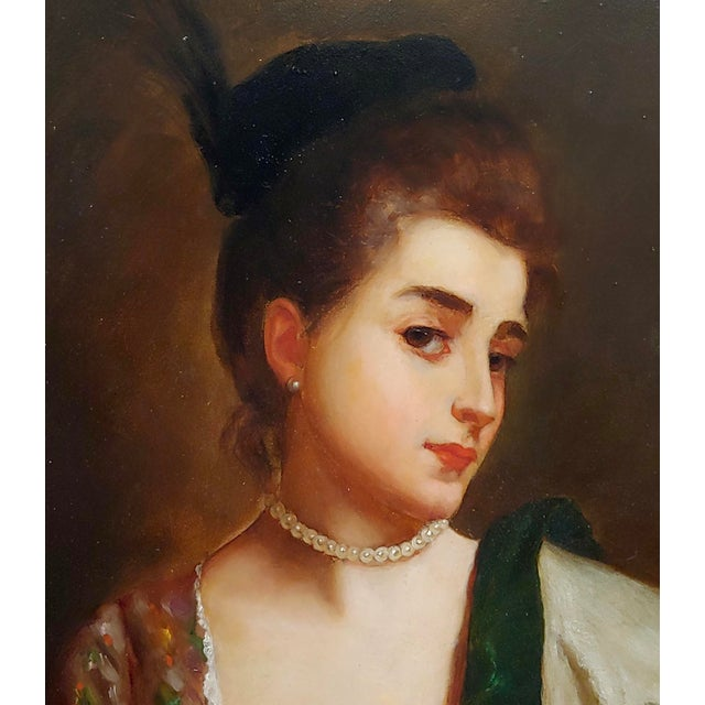 """Gustave Jean Jacquet """"Portrait of a Young Lady Wearing a Feather Hat"""" 19th Century Oil Painting For Sale - Image 4 of 10"""