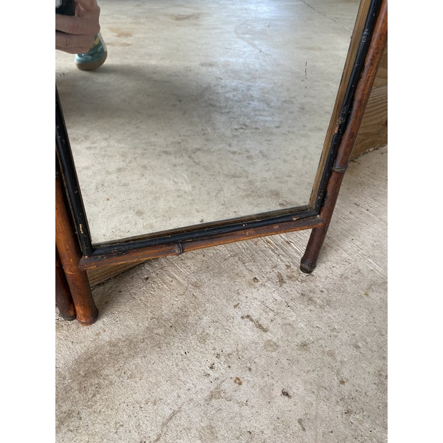 Antique French Bi-Fold Bamboo Mirror For Sale - Image 10 of 13