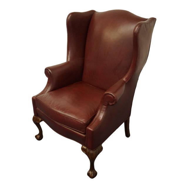 Whittemore-Sherrill Burgundy Leather Wingback Chair For Sale