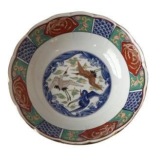 Crane Motif Imari Style Asian Bowl