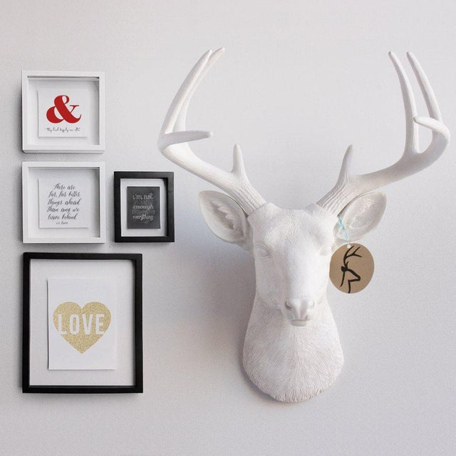 Wall Charmers Deer in Brown Chocolate + Gold Antler Faux Head Bust - Image 3 of 4