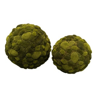 Green Moss Spheres - a Pair For Sale