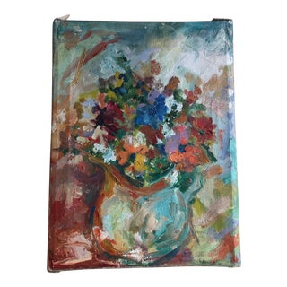 1940s Multicolored Floral Painting For Sale