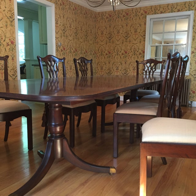 Chippendale Maitland Smith Regency Chippendale Carved Dining Set For Sale - Image 3 of 8