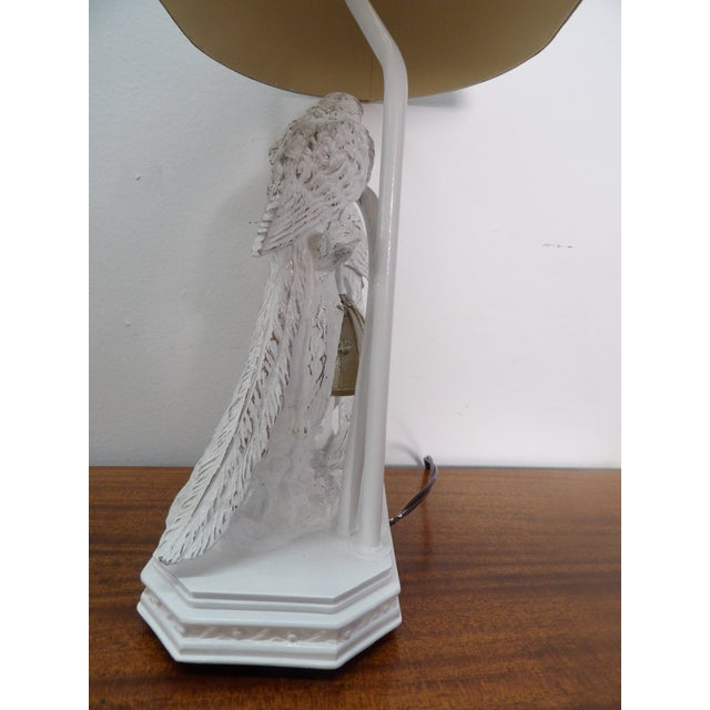 Parakeet Lamp in White Lacquer With Multiple Setting Lights With Silver Shade For Sale In West Palm - Image 6 of 11