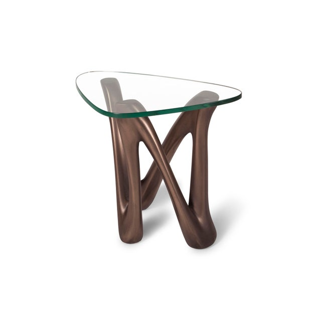 Amorph Amorph Ronia Dark Bronze Side Table With Glass Top For Sale - Image 4 of 9