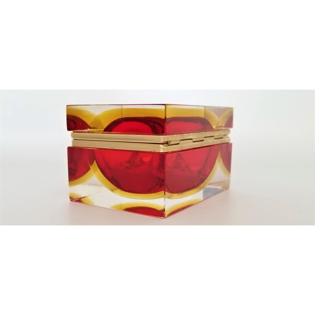 Murano Vintage 1970s Glass Jewelry Box by Alessandro Mandruzzato - Italy Italian Mid Century Modern Palm Beach Chic Tropical Coastal For Sale - Image 10 of 13