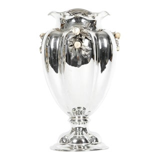Large Antique Sterling Silver Centerpiece / Flower Vase For Sale