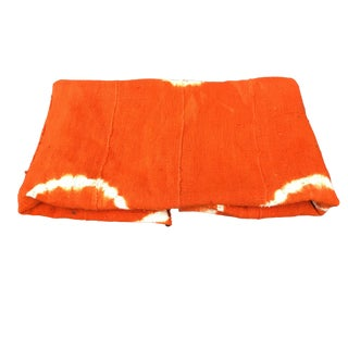 "African Bogolan Textile Mud Cloth Orange & White 44"" by 60"" For Sale"