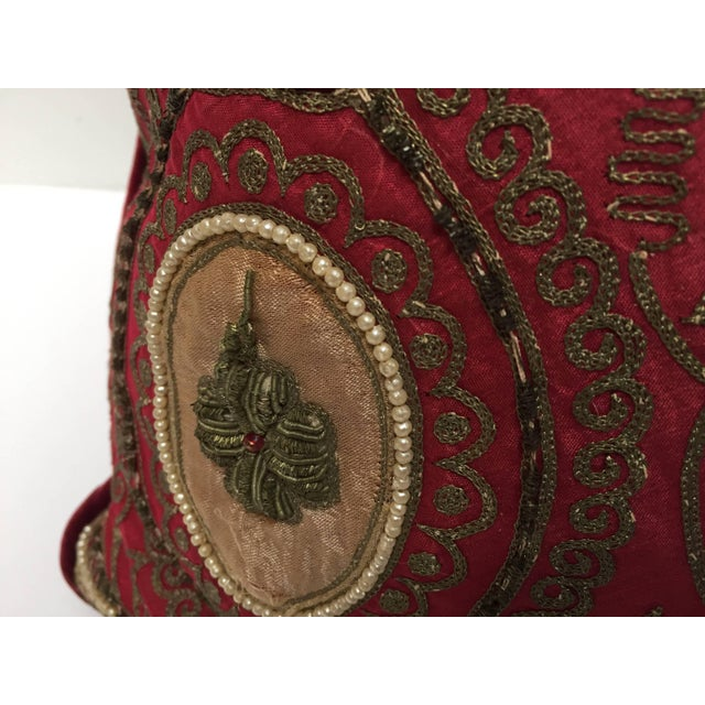 Pair of Antique Turkish Ottoman Silk Pillows With Metallic Threads For Sale - Image 12 of 13