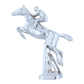 Vintage English Steeplechase Chrome Car Mascot For Sale