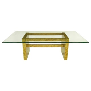 """Henredon """"Circa 75"""" Oil Drop Lacquer & Glass Dining Table For Sale"""