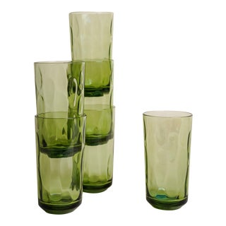 1960s Green Glass Tumblers - Set of 6 For Sale
