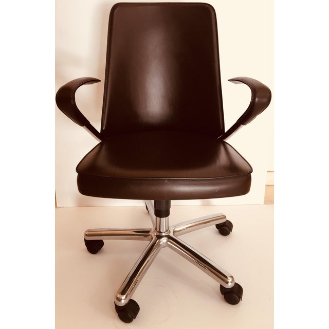 """""""Luna"""" Brown Leather Office Chair by Martino Perego for Fasem For Sale - Image 13 of 13"""