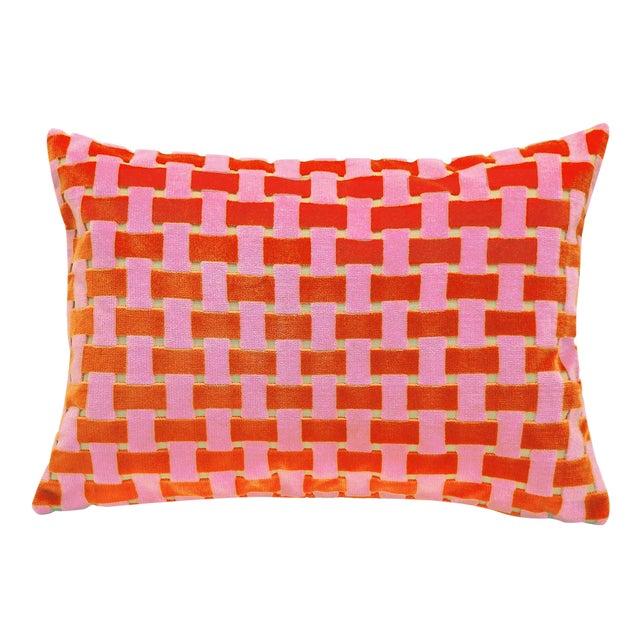 "Modern Pink and Orange Velvet Basket Weave Pillow - 14"" X 20"" For Sale"