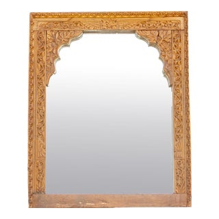 Rajasthani Carved Arched Folk Mirror For Sale
