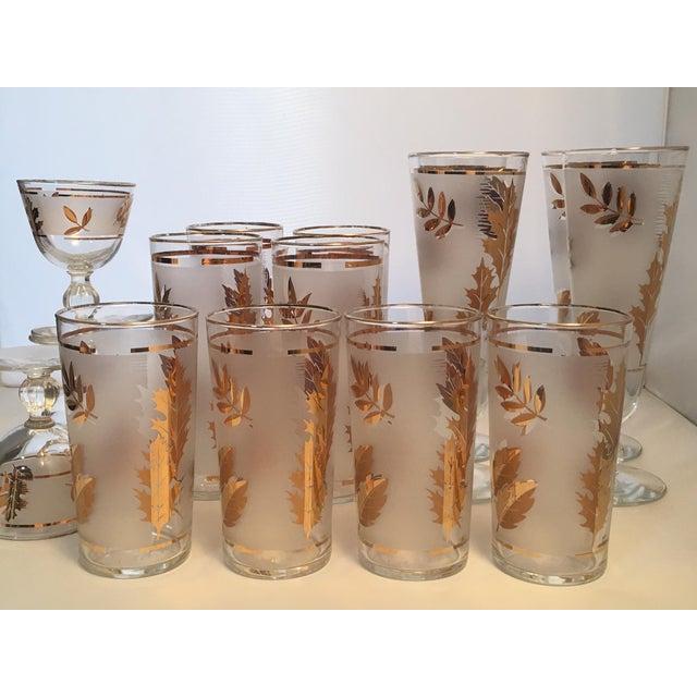 Vintage Gold Leaf Frosted Glassware - Set of 16 - Image 3 of 11