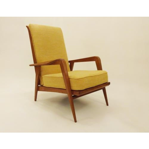Steiner Etienne Henri Martin Pair of Modernist Reclining Lounge Chairs in Oak, edited by Steiner For Sale - Image 4 of 9