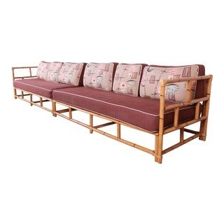 Heywood Wakefield Mid-Century Modern Hollywood Regency Bamboo Two Piece Sectional Sofa, 1950s For Sale
