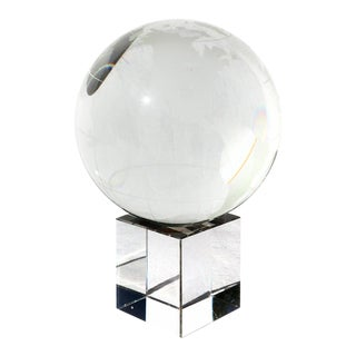Crystal Globe on Stand For Sale