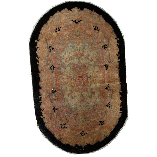 1920s Hand Made Antique Art Deco Chinese Rug - 2′10″ × 4′10″ For Sale