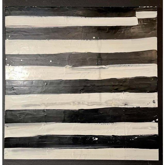 "1990s Lynn Basa Encaustic Black and White Stripe Panel ""Not So Simple"" 2012 For Sale - Image 5 of 12"